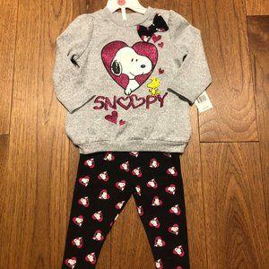 Girls Snoopy Crewneck and Leggings Brand New